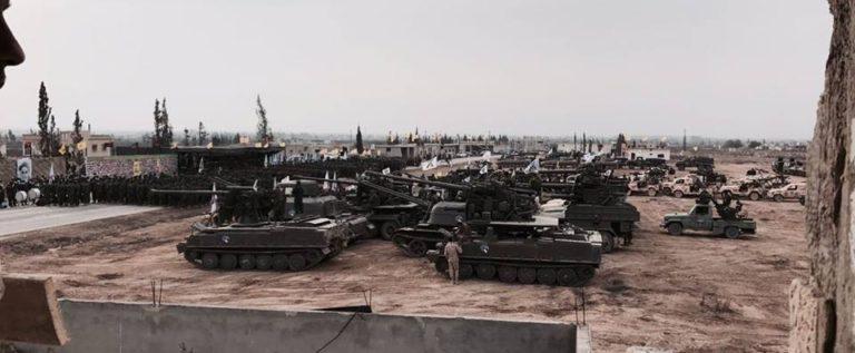 عرض عسكري هائل لحزب الله في القصير