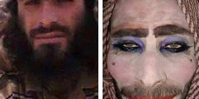 """بالصور: """"داعشي"""" تبرّج ليهرب… لكنّه نسي شاربيه ولحيته!"""