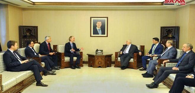 المعلم لـ بيدرسون: سورية مستعدة للتعاون لإيجاد حل سياسي للأزمة
