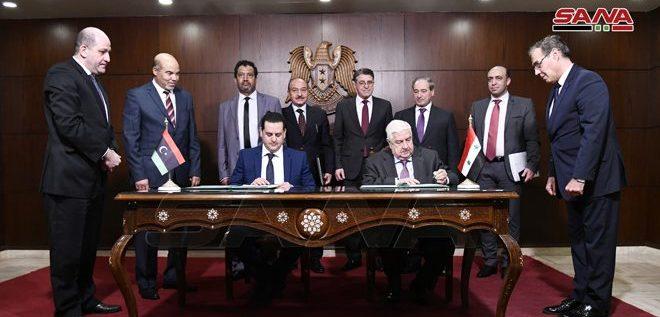 سورية وليبيا توقعان مذكرة تفاهم بشأن إعادة افتتاح مقرات البعثات الدبلوماسية وتنسيق مواقف البلدين في المحافل الدولية